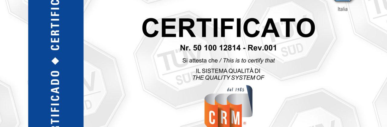 CRM Engineering è un'azienda certificata ISO